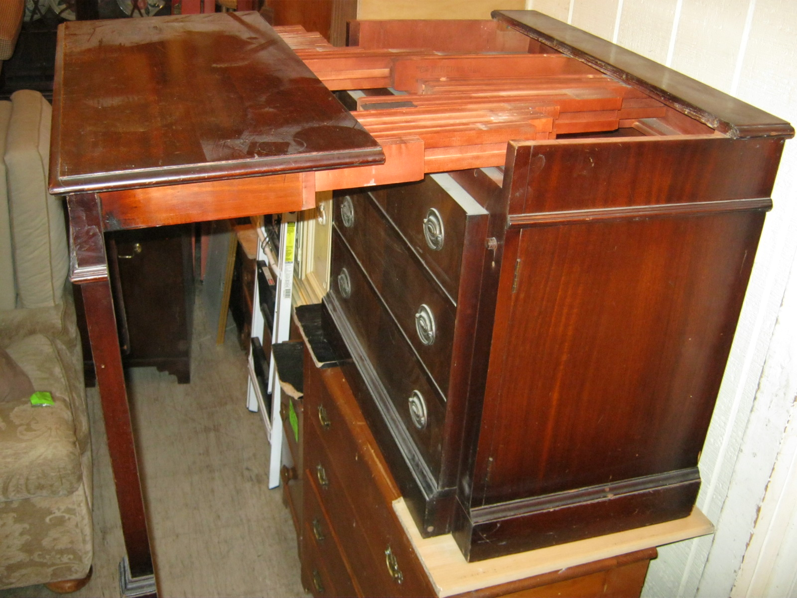 Mahogany Cabinet That Is Actually A Large Expanding Table SOLD