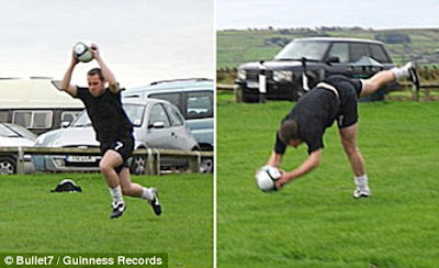 Danny Brooks football records,new football records,world records 2010,longest football throw world records,Olympics World Records