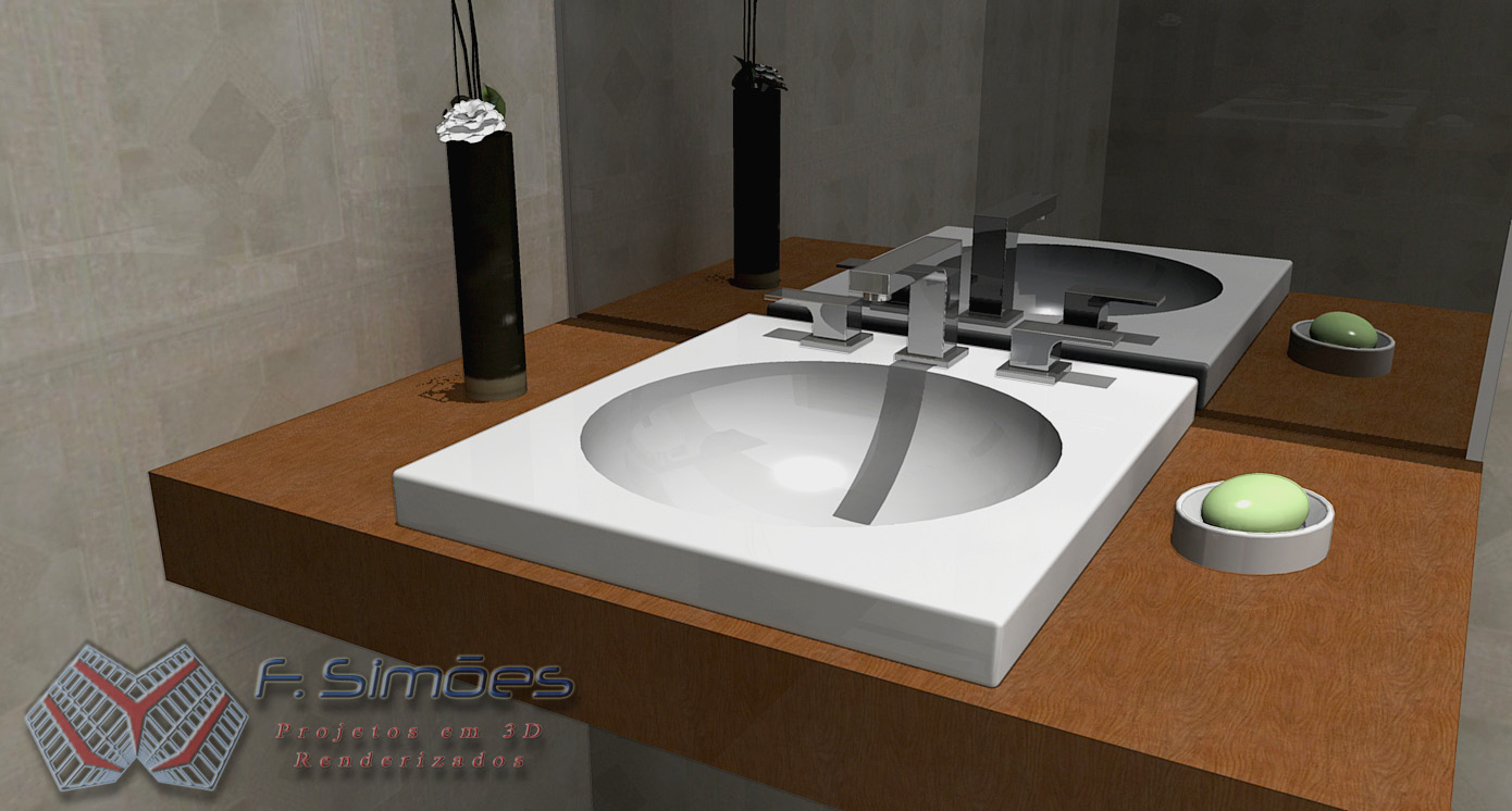 F Simões  Projetos 3D Renderizados Lavatórios Deca para Banheiros -> Cuba Banheiro Sketchup