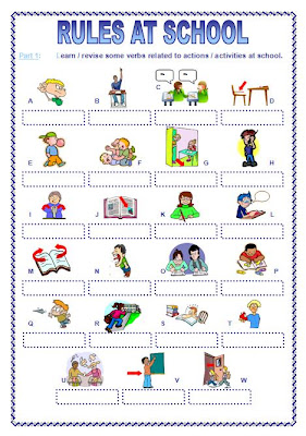 ... Little English Pond: Rules at School (Powerpoint + Worksheet