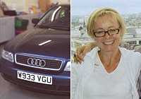 Photos of Diane Chenery-Wickens and her Audi car