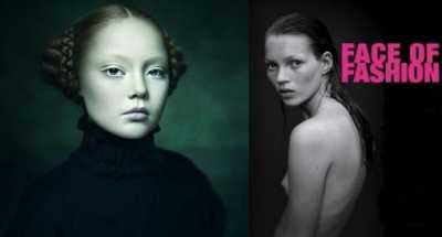 Combined Photos, left: Desiree Dolron - Xteriors XIII; right: Kate Moss poster for Face of Fashion