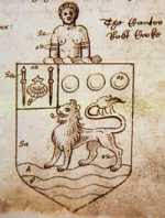 John Hawkins' Coat of Arms (note the bound, naked, female slave above the shield)