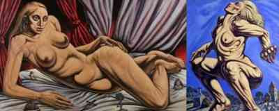 Peter Howson - two portraits of Madonna imagined in the nude