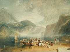 JMW Turner - Lake of Lucerne, from the Landing Place at Fluelen, looking towards Bauen and Tell's Chapel, Switzerland (ca 1815)