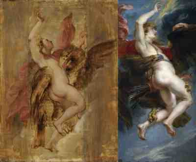 Sir Peter Paul Rubens - The Rape of Ganymede (sketch left)