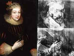 Left: Elizabeth Vernon, Right: X-ray of Henry Wriothesley (16th Century)