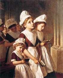 Sophie Anderson - Foundling Girls in their School Dresses at Prayer in the Chapel