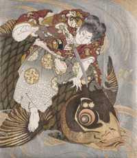 Totoya Hokkei - Oniwakamaru subduing the Giant Carp (ca 1831) detail