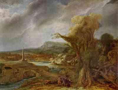 Govaert Flinck - Landscape with an Obelisk (1638)