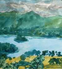 Adrian Berg RA - Detail of Derwent Water from Castle Head (7/9/1987)