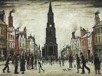 LS Lowry - A Market Place, Berwick-upon-Tweed (1935)