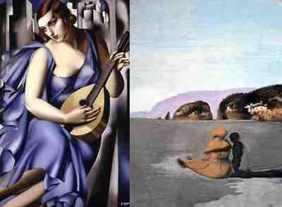 Tamara de Lempicka - La Musicienne; Salvador Dali - Adolescence (1941)