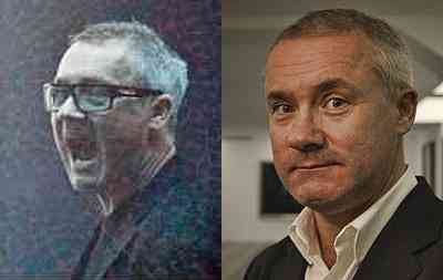 Damien Hirst with and without Spectacles