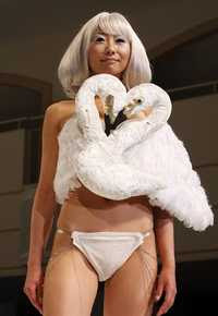 Model wearing Swans Bra, Bunka, Japan (2009)