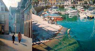 Johnny Morant - Two Paintings: Dijon and Padstow Harbour