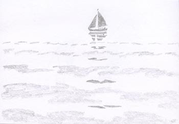 pencil drawing, sailboat on ocean