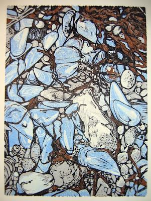 'High Tide Detritus' linocut by Sherrie York