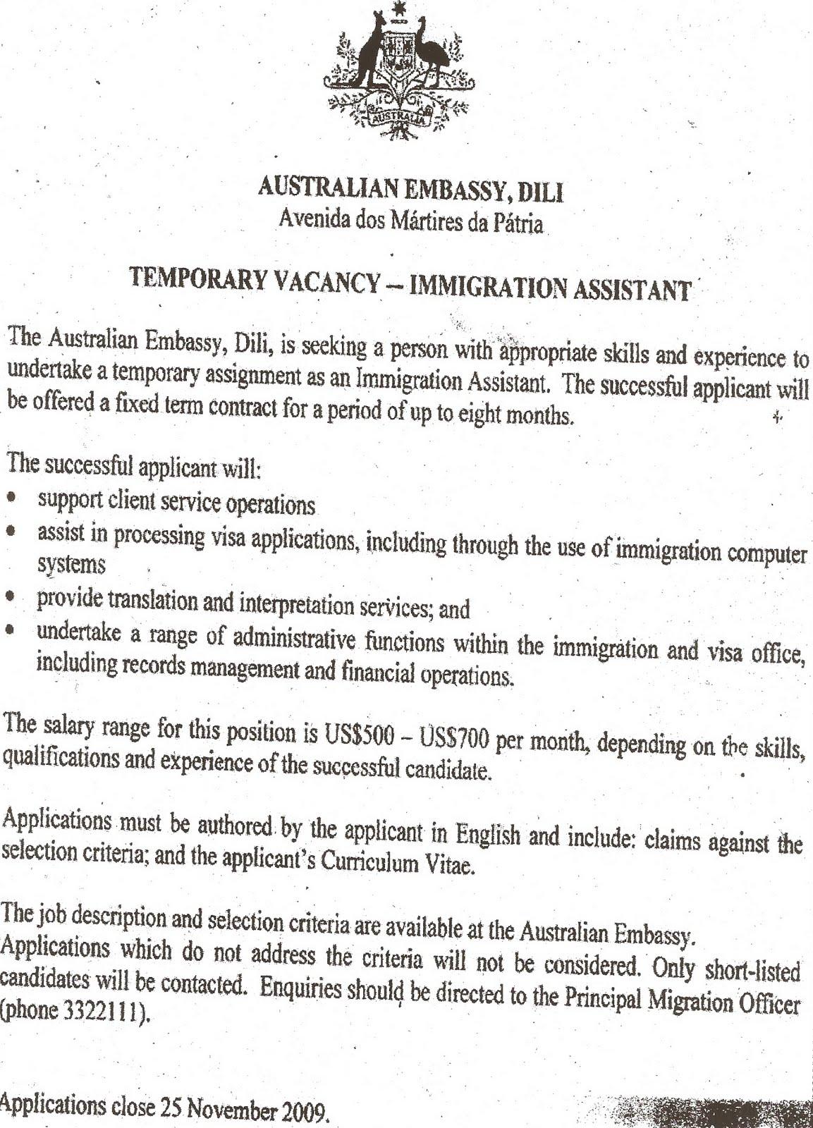 Cover letter for job application embassy