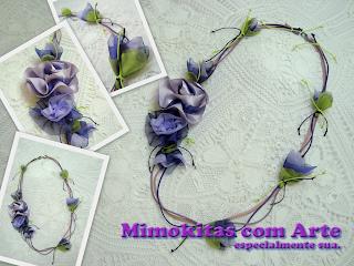 colar flores de tecido