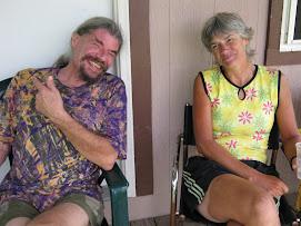 Dan and Donna Hanging at Biker/Hiker Hostel