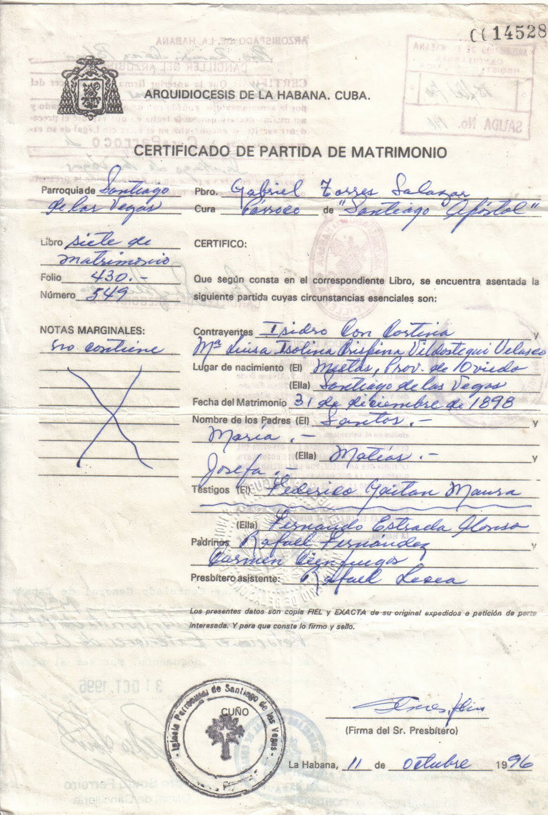 Partida De Matrimonio Catolico : Certificado de matrimonio cuba pictures to pin on