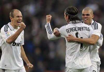 Sergio Ramos celebrating his goal againist Osasuna