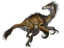 Ancient dinosaur wearing primitive down coat