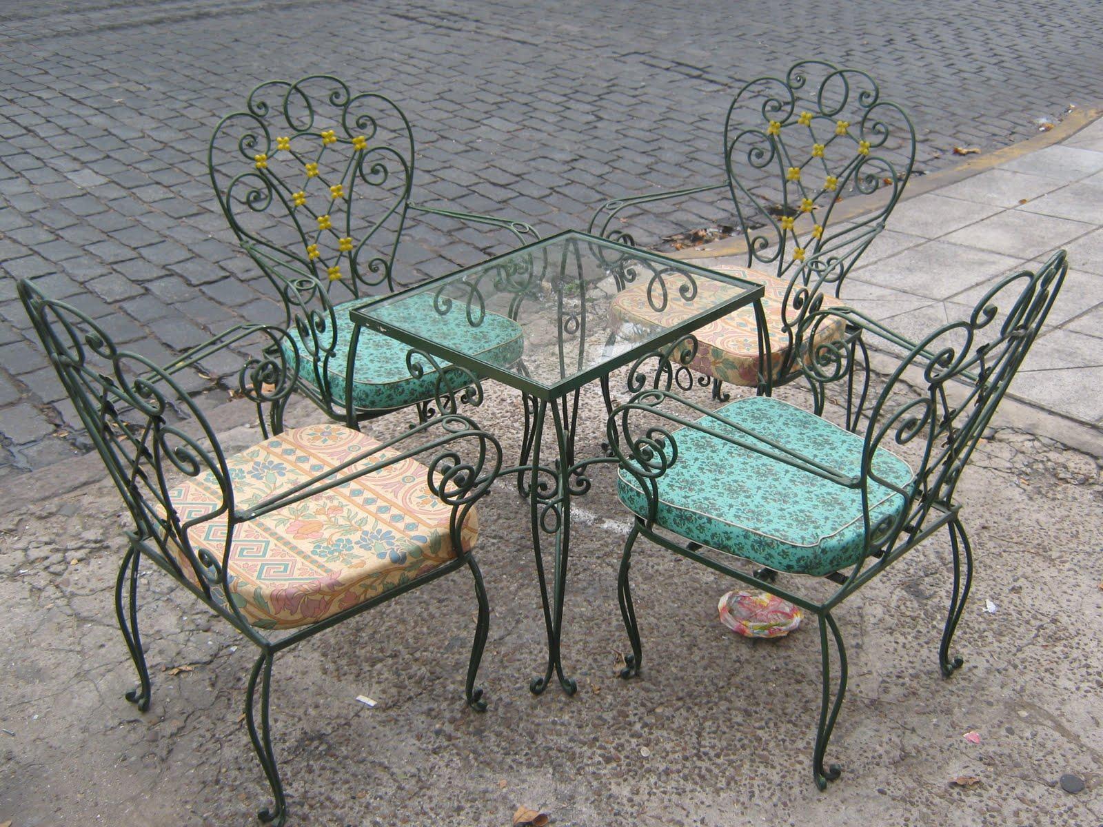antiguedades del parque juego de jardin en hierro forjado