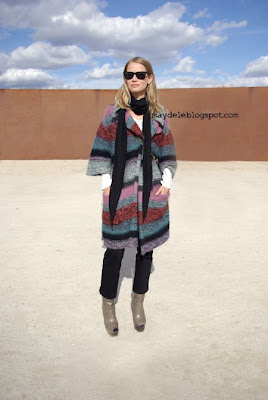 Holli Rogers wearing Chloé striped cardigan and Marni boots