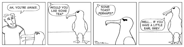 cartoon,gag,funny,cartoon strip,Humboldt,albatross,lighthouse,lighthouse keeper,sea,marine,bird,tea,earl grey