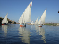 Feluccas becalmed on the Nile