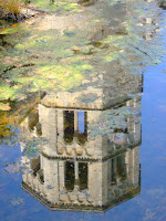 Chapel tower in lily pond