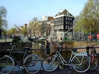 Typical Amsterdam, canals, locks, bikes and Dutch gables