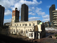 St Giles, left a shell at the end of WWI, now restored and a feature of the Barbican area
