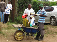 Vendor selling sugar cane outside the rugby grounds
