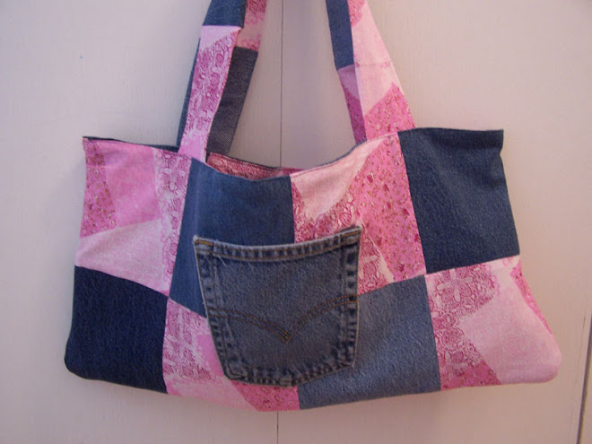 Handmade Pink Patchwork Denim Quilt Tote Handbag Purse