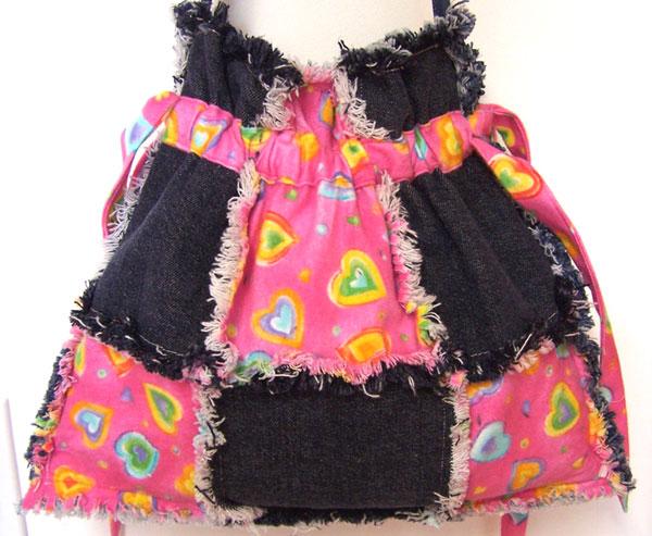 Denim Drawstring Sweet Hearts Tote Bag, Ragged Purse, Handbag