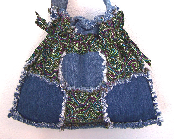 Handmade Denim Drawstring Bag Purse Psychedelic Hippie Design