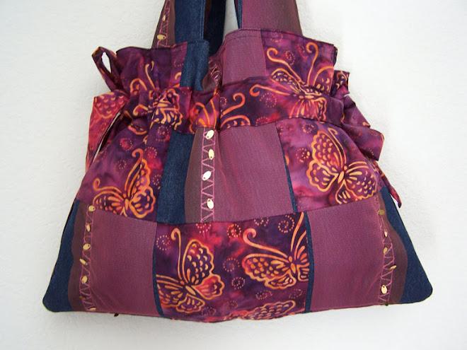 Handmade Denim Sequins, Tulle, Butterfly drawstring purse.