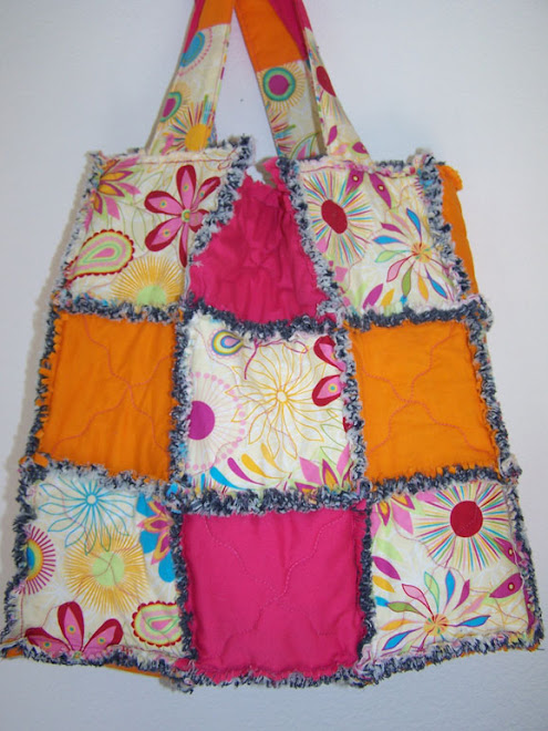 Handmade Ragged Quilted Denim Tote Bag Purse Bright Calico Flowers