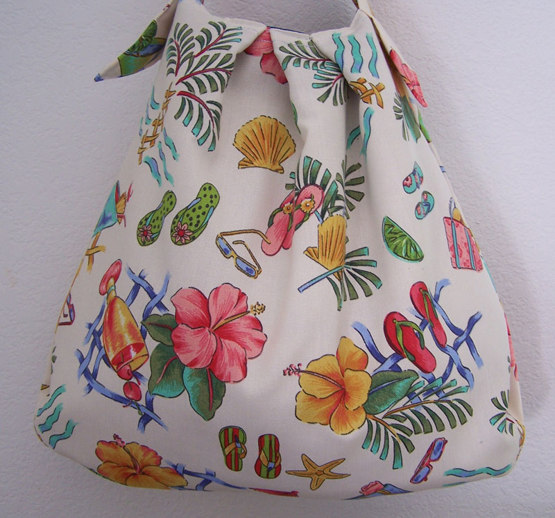 Handmade Hawaiian Hibiscus Cocktail Beach Purse Handbag Tote