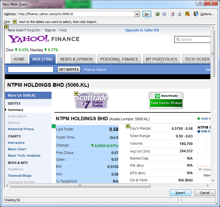 Yahoo finance quotes
