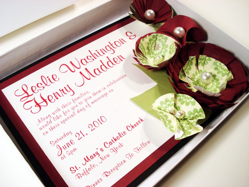 Paper Flowers With Pearl Embellishments Wedding Invitation Set