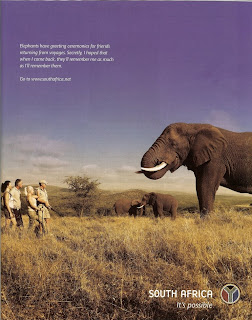South Africa Travel Ad in Departures magazine - Do elephants greet humans this way?