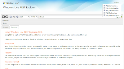 Windows Live REST Explorer 1
