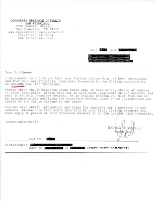 Italian Citizenship Notification Page2 Redacted
