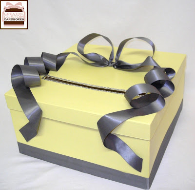 We sent her this lovely 1 tier square Lemon and Pewter wedding Card Box