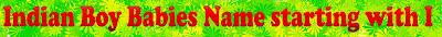 I Letter Starting Indian Boy babies name list