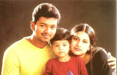 Actor Vijay with his wife sangeetha and his son Sanjay family photo